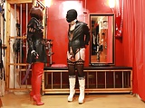 Spanking in high heeled boots